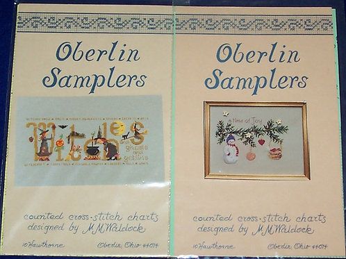 2 Cross Stitch Pattern Chart Oberlin Samplers MM Waldock Witches A Time Of Joy