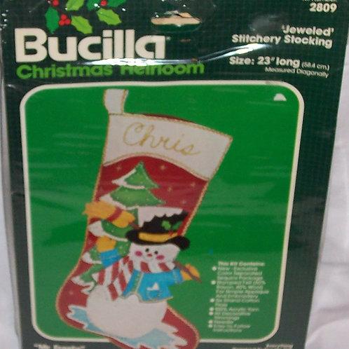 Bucilla Mr Frosty Christmas Jeweled Stitchery Stocking 2809
