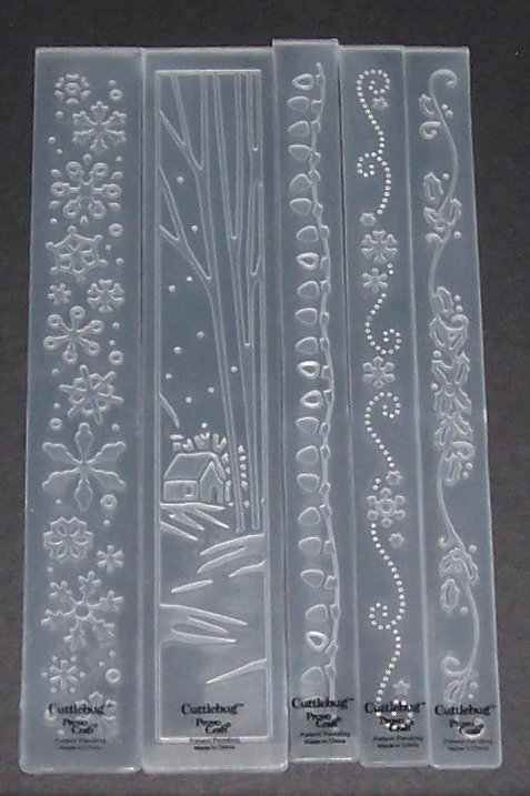 Set of 5 Cuttlebug Border Embossing Folders Christmas Holiday Snowflakes Lights