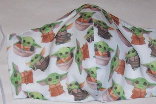 Baby Yoda Reusable Fabric Face Mask 3 Layers Olson Style With Filter Pocket Nose