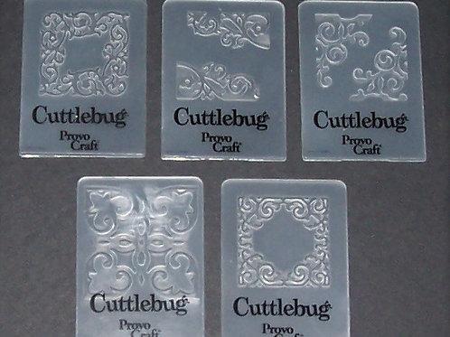 Set of 5 Cuttlebug Mini Embossing Folders Decorative Swirls Scrapb