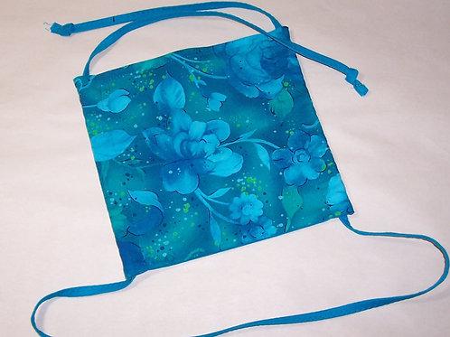 Blue Orange Floral Reusable Fabric Face Mask w/ Filter Pocket Drawstring