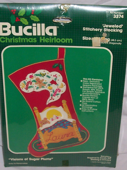 Bucilla Visions of Sugar Plums Christmas Jeweled Stitchery Stocking 3374