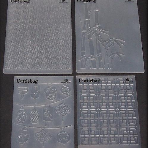 Set of 4 Cuttlebug Embossing Folders Oriental Weave Bamboo Scrapbooking