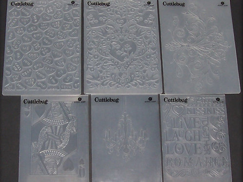 Set of 6 Cuttlebug Embossing Folders HSN Romance Collection Scrapbooking