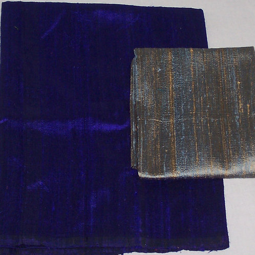 Silk Dupioni Two Pieces Deep Purple and Blue/Gold 3/4 Yd + Fat Quarter