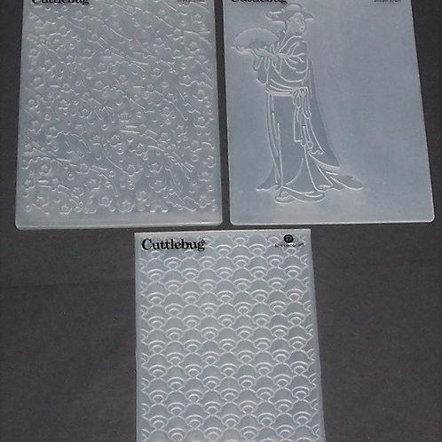 Cricut Cuttlebug Embossing Folder Oriental Plum Blossoms Asian Scrapbooking