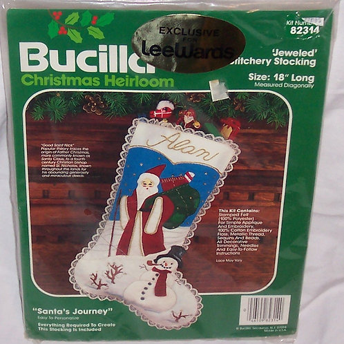 Bucilla Santa's Journey Kit 82314 Christmas Jeweled Stitchery Stocking