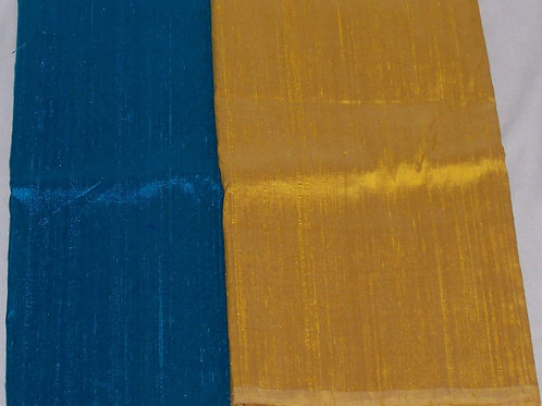 Silk Dupioni Two Pieces Blue and Yellow Gold Each 1/2 Yard - 1 Yard Total