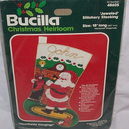 Bucilla Hearthside Hangings Christmas Jeweled Stitchery Stocking 48605