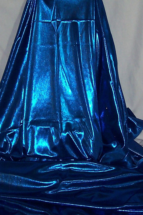 Metallic Foil Shiny Stretch Fabric Lingerie 2 Way Stretch Blue 3 Yards
