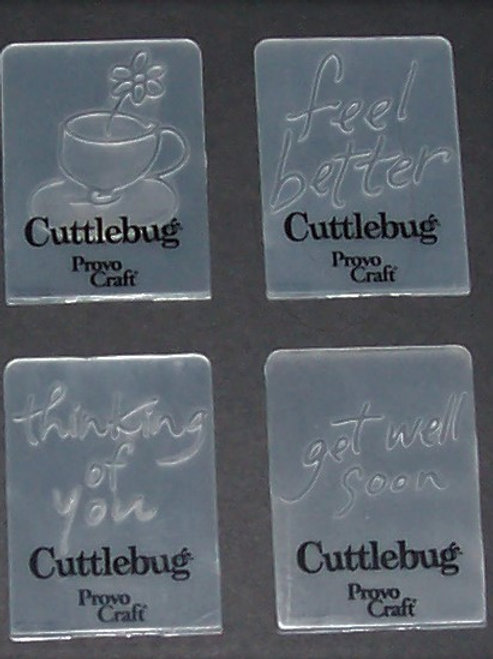 Set of 4 Cuttlebug Mini Embossing Folders Get Well Soon Feel Better Coffee...