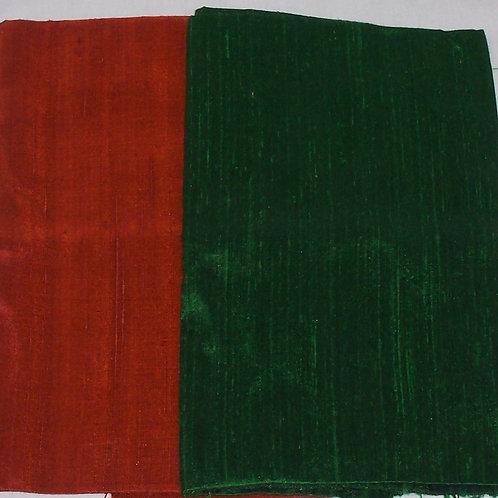 Silk Dupioni Two Pieces Green and Orange Each 1/2 Yard - 1 Yard Total