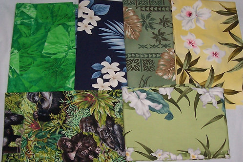 Hawaiian Fabric Tropical Theme Remnants 6 Pieces Approx 3 Yards