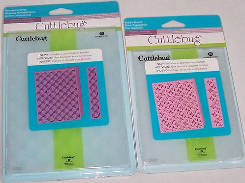 Two Pkgs Cuttlebug Embossing Folder & Border Sets Baby's Breath Geometric Rings