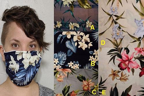 Hawaiian Cloth Face Mask w/ Filter Pocket Drawstring