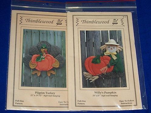 Thimblewood Pilgrim Turkey + Willy's Pumpkin Wall Hanging Quilt Pattern