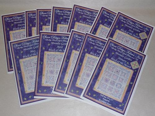 Moonlet Garden Kathleen Starr Quilt Pattern Set January - December BOM