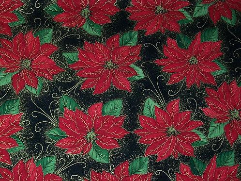 Timeless Treasures Fabric Christmas Poinsettia on Black