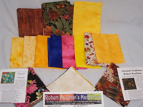 "11 Fat Quarters Plus 116 Pre-Cut 5"" Squares Kaufman Marcus Bros"