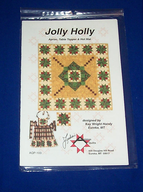 Jackie's Animas Quilts Jolly Holly Quilt Pattern Christmas + Apron Hot Mat