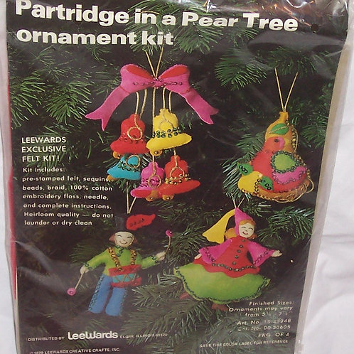 Lee Ward Partridge in a Pear Tree Ornament Kit Christmas Embroidery Felt