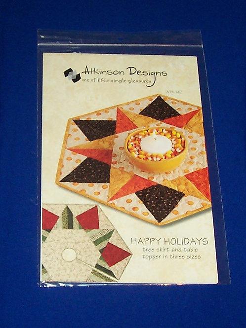 Atkinson Designs Happy Holidays Halloween Christmas Quilt Pattern Tree Skirt