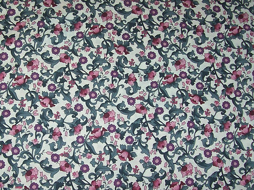 Hoffman The Windsor Collection Floral Vines Dusty Rose Fabric 1-3/8 Yards
