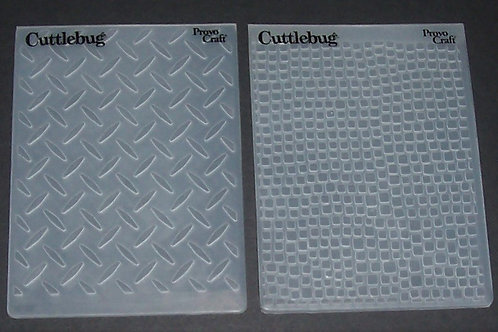 2 Cuttlebug Embossing Folders Diamond Plate Leather Scrapbooking