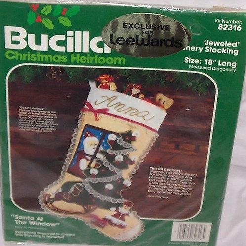Bucilla Santa At The Window Christmas Jeweled Stitchery Stocking 82316