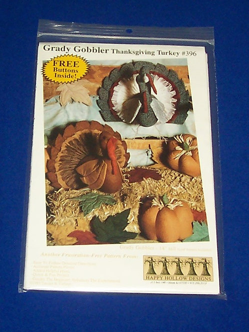 Grady Gobbler Thanksgiving Turkey #396 Pattern Happy Hollow Designs