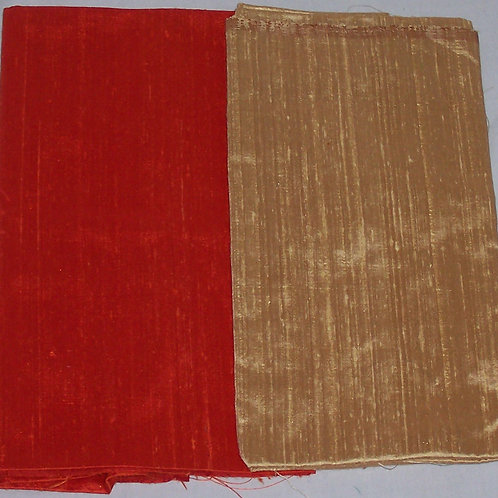 Silk Dupioni Two Pieces Orange and Gold Each 1/2 Yard