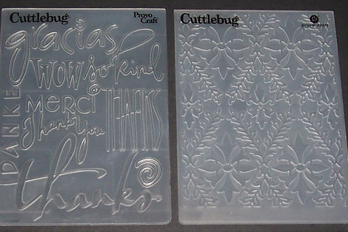 2 Cuttlebug Embossing Folders Thanks Gracias Merci / Fancy Lace Scrapb
