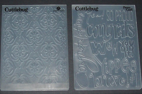 2 Cuttlebug Embossing Folders Congrats Bravo / Lacey Floral Scrapbo