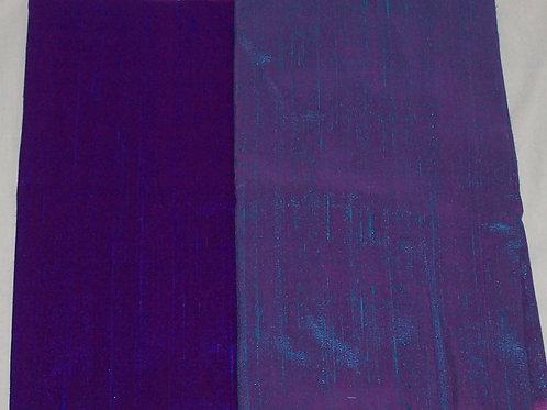 Silk Dupioni Two Pieces Blue & Blue/Purple Iridescen Each 1/2 Yard - 1 Yard Tota