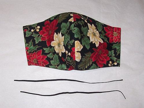 Christmas Poinsettia Olson Style Reusable Cloth Face Mask 3 Layers Filter Pocket