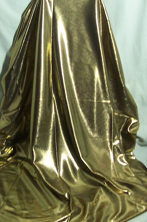 Metallic Foil Shiny Stretch Fabric Lingerie 2 Way Stretch Gold 1 Yard