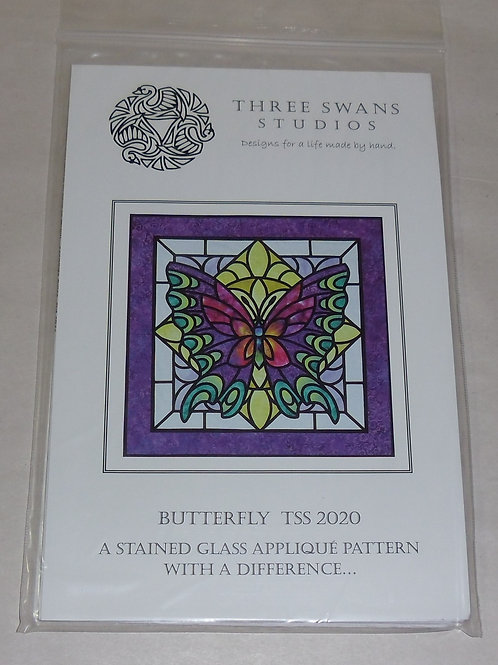 Butterfly Three Swans Studios Quilt Pattern TSS 2020 Stained Glass Applique