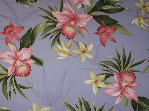 Hawaiian Fabric Soft Lavender With Pink Cream Plumerias Green 1-3/4 Yards