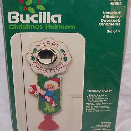 Bucilla Candy Elves Kit 48804 Christmas Doorknob Ornaments Set of 4