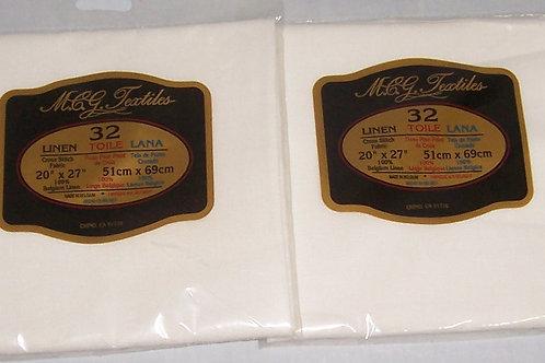"Two M.C.G. Textiles 32CT 20"" X 27"" Oyster Cross Stitch Belgium Linen"