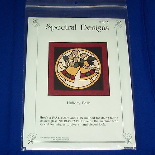 Spectral Designs Holiday Bells Stained Glass Quilt Pattern Christmas