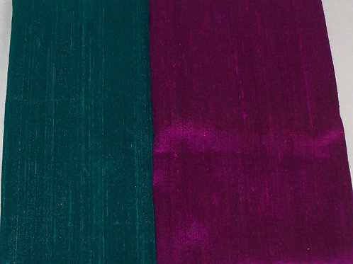Silk Dupioni Two Pieces Teal and Fuchsia  Each 1/2 Yard - 1 Yard Total