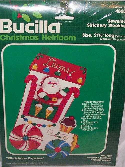 Bucilla Christmas Express Jeweled Stitchery Stocking 48602