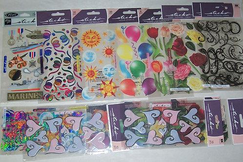 EK Success Sticko Vellum Stickers Flowers Balloons Swirls 290 Pieces
