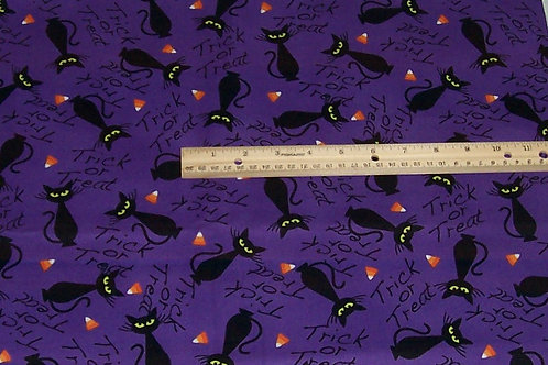 Maywood Studio Seen on Halloween Black Cats Trick or Treat Fabric BTY