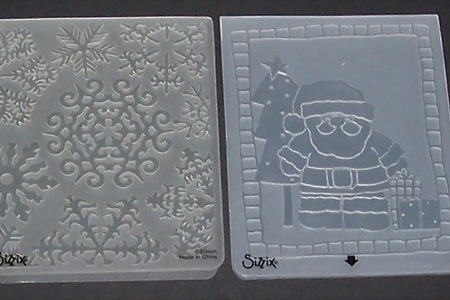 2 Sizzix Embossing Folders Christmas Holiday Santa Claus / Fancy Snowflakes