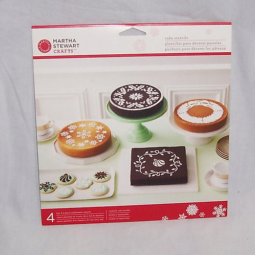 Martha Stewart Crafts 4 Pack Cake Stencils Holiday Christmas Snowflakes Holly ++