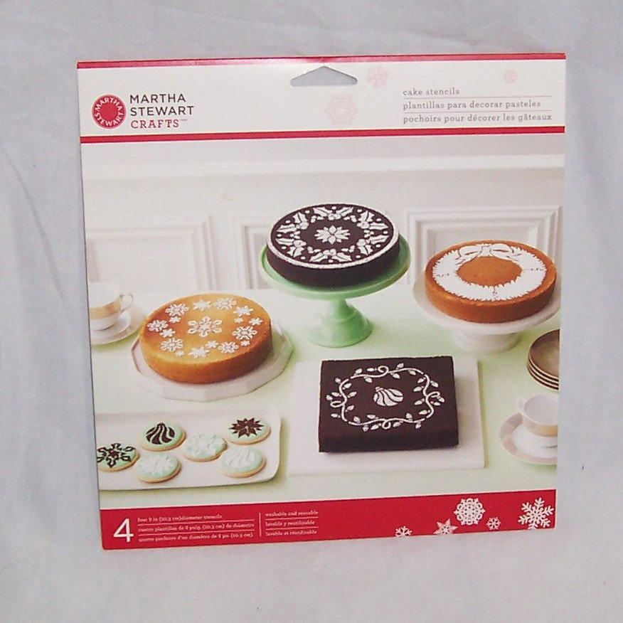 Martha Stewart Crafts 4 Pack Cake Stencils Holiday Christmas Snowflakes Holly