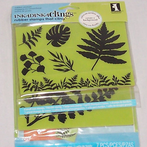 Inkadinkaclings Rubber Stamps 7 Pieces Ferns Cling Set Unmounted Background